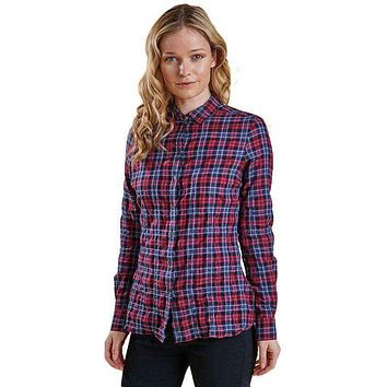 Barlett Shirt in Navy and Red Check by Barbour