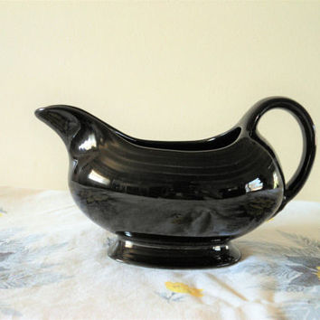Black Fiesta Open Sauce Boat, Black Homer Laughlin Fiestaware Gravy Boat, Black Gravy Boat