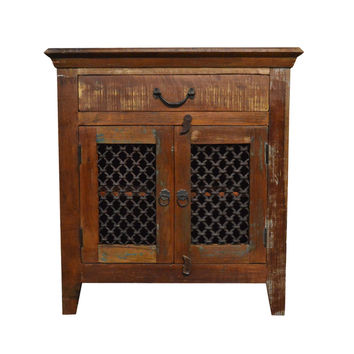 Reclaimed  Rustic Floor Storage Cabinet Table with Iron Grill
