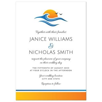 Elegant beach or tropical destination wedding invitation with sun, water wave and birds