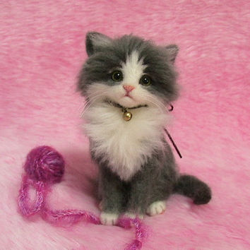 Needle Felted Gray & White Fluffy Kitten with a yarn ball: Miniature Wool Felt Cat