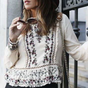 Floral Embroidered Women Blouse Ruffle Lace Chic O-Neck Long Sleeve Shirt Tops unfinished Edges Hippie Boho Top Pullover