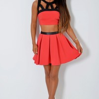 Elin Red & Black Contrast Skater Skirt | Pink Boutique