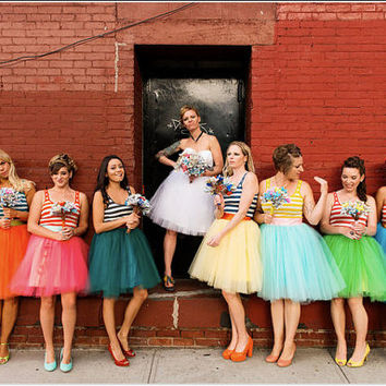 Custom Bridesmaids Bridal Party Knee Length Tulle Tutu Skirt with Satin Sash Customize your Colors Ballet