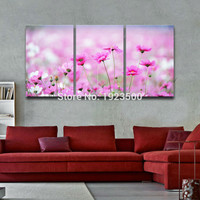 Decorative Modern Wall Art Canvas Painting Panel Pink Daisy Flower Nature Triptych Picture Living Room Unframed Home Decoration