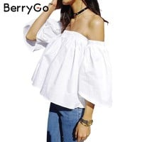 BerryGo  Sexy off shoulder white blouse women Ruffle slash neck cotton shirt blouse Autumn Winter tube top tees short blusas