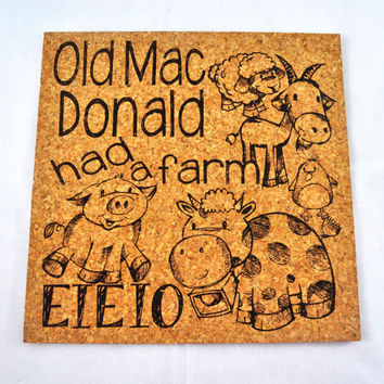 Old MAc Donald had a Farm EIEIO Quirky Corkies Cork board, wall decor, for Home, Office, Dorm, Bedroom, Kids Room wall art