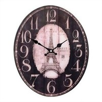 GLASS EIFFEL TOWER OVAL CLOCK size 32 x 39 cm