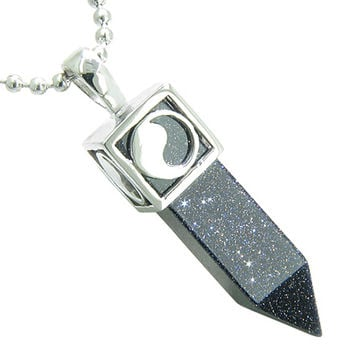Positive Energy Yin Yang Amulet Crystal Point Lucky Charm Blue Goldstone Pendant 18 Inch Necklace