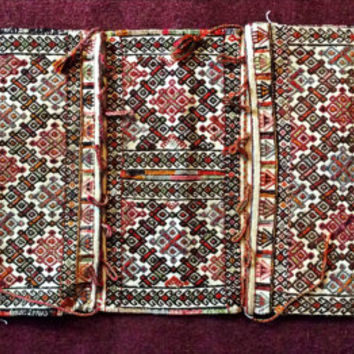Fine Baluch Complete Khorjin Camel Bag Hand Woven Two Sided Saddlebag Hand Knotted Khorjun Home Decor Vintage Geometric Collectible