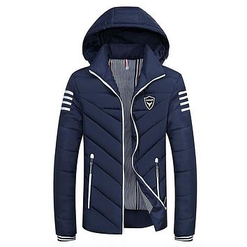 Winter 2017 more new men hooded pure color quilted jacket down cotton-padded jacket 8XL