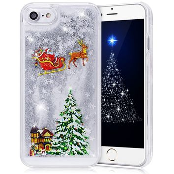 iPhone 7 Case 4.7 inch, CinoCase 3D Creative Liquid Case [Christmas Collection] Flowing Quicksand Moving Stars Bling Glitter Snowflake Christmas Tree Santa Claus Pattern Clear Hard Case for iPhone 7