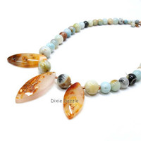 Mother's Day Natural stone jewelry, Amazonite and agate necklace in soft tones of blue, brown and gray.  adjustable length necklace