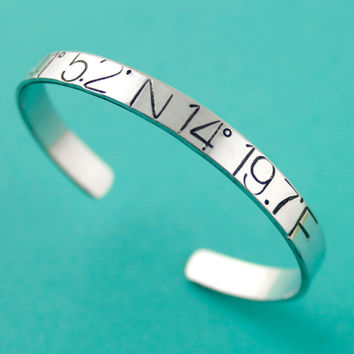 Latitude and Longitude Bracelet - Huge Bold Text in aluminum, copper or brass - Personalized bracelet