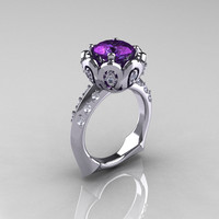Classic 950 Platinum 3.0 Carat Alexandrite Diamond Greek Galatea Bridal Wedding Ring AR114-PLATDAL