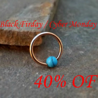Rose Gold Synthetic Turquoise Bead Captive Ring 16ga Cartilage Tragus Daith Helix Rook Black Friday Cyber Monday
