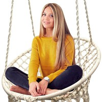 White Hammock Swing Chair Made Of Macrame For Indoor Or Outdoor Patio