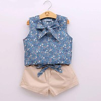 Kids Clothes Fashion Flower T shirt + Pant Baby Suits Children Clothing Set Baby Girls Clothes