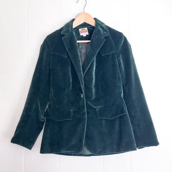 Velvet Jacket, Green Velvet Blazer. 70s Vintage Velvet Blazer. Velvet Coat. Crushed Velvet, Made in USA. Vintage Jacket, Dark Green.