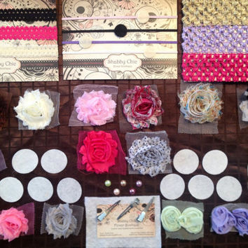 DIY Headband Kit - Creates 10 Customized Flower Headbands - DIY Project Activity Make Your Own - Baby Shower Babyshower