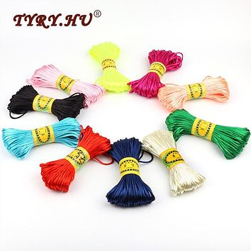 TYRY.HU 20M/Lot Satin Cords DIY String Cord Nylon Rope Accessary&Findings For Baby Silicone Teething Bead Necklace Jewelry Cord