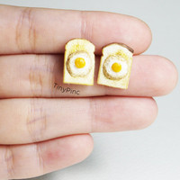 Egg on toast Ear Stud Earrings