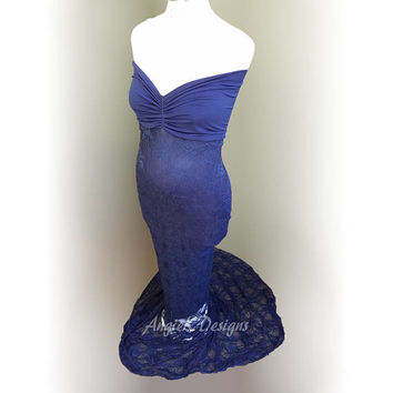 Slimfit Navyblue Mermaid LaceSweetheart/TubeStyle Dress Gown Maternity Baby Shower Pregnancy Special Occasion Photo Shoot Prop