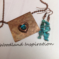 Raw native copper necklace with copper turquoise filled heart and turquoise earrings, upper Michigan copper