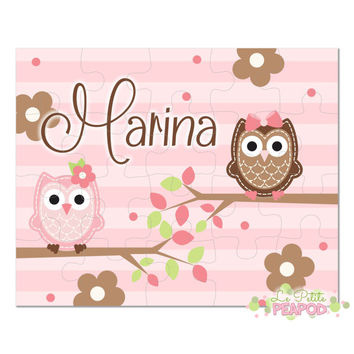 "Personalized 8"" x 10"" Puzzle - 20 or 100 pieces - Pink Brown and Green Owls and Flowers - Children's Puzzle - Personalized Name Puzzle"
