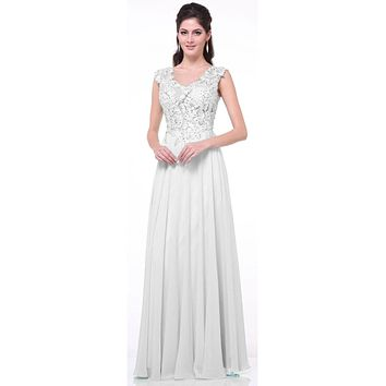Illusion Sleeveless Evening Dress Off White Lace Appliques