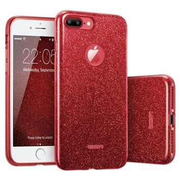 "iPhone 7 Plus Case, ESR Glitter Sparkle Bling Case with Three Layer Structure [Slim Fit] for Apple 5.5"" iPhone 7 Plus(2016 Release)(Rose Red)"