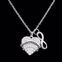 Infinity Crystal Hairdresser Gift Stylist Hair Salon Occupational Necklace