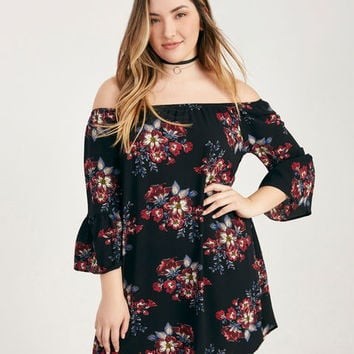 Plus Size Floral Print Off-The-Shoulder Dress | Wet Seal Plus