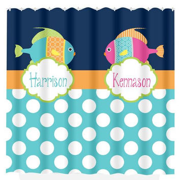 Fish SHOWER CURTAIN Custom MONOGRAM Personalized Nautical Boy Girl Sisters Brothers Bathroom Decor Bath Beach Towel Plush Bath Mat Made Usa