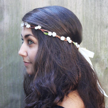 Bridal Flower Crown - Ivory Hair Wreath, Ivory White Flower Crown. Weddings, Woodland Wedding, Flower Girl, Rustic, Bride