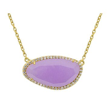 Fronay Co Large Purple Jade Stone Slice Necklace in Sterling Silver