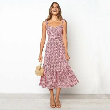 Women Long Floral Maxi Ladies Summer Holiday Party Prom Gown Swing Sun Dress Ladies Loose Hot Casual Ankel Length Dresses