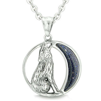 Amulet Howling Wolf Wild Moon Powers Blue Goldstone Pendant 18 Inch Necklace