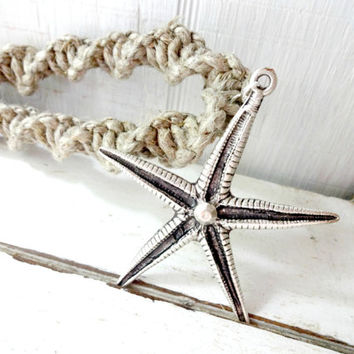 Natural Jute Macrame Starfish Curtain Tiebacks, Rustic Beach Decor,  Beach Cottage Chic