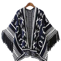 Totem Print Fringed Coat