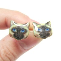 Small Siamese Kitty Cat Face Shaped Stud Earrings | Animal Jewelry