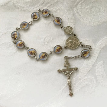 St Anthony Chaplet, Intaglio St Anthony with Baby Jesus,  Mini Rosary, Religious Jewelry
