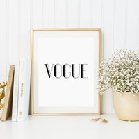 Printable Vogue Poster PRINTABLE FILE Typography Poster Wall poster Quote poster Giclee art Wall art Black And White Typography Poster Art