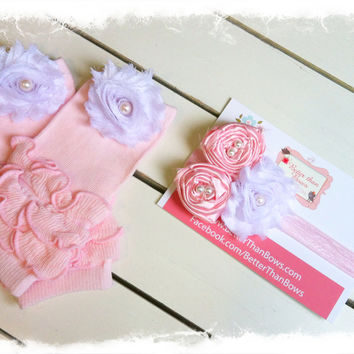 Newborn Leg Warmer and Headband Set-Photo Props-SZ Newborn-3mo-New Baby Gift