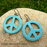 Turquoise Howlite stone peace sign earrings. Large, lightweight.
