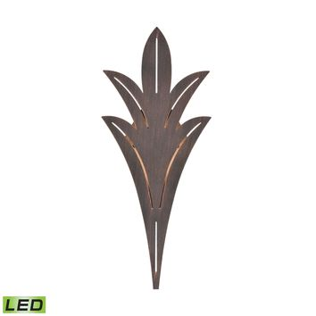 Palm Fronds 1-Light Sconce in Bronze Rust with Laser Cut Aluminum