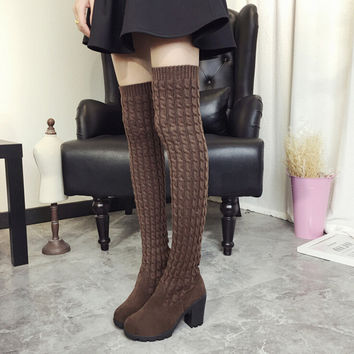 New Women Suede Sexy Fashion over the knee Boots Sexy Square heel High heel Boots Platform Woman shoes Black Knee high boots