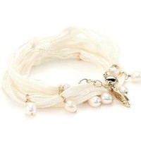 "Ettika ""Vintage Ribbon"" Cream Wrap Bracelet Gold Pearl Pendant Necklace s: Jewelry: Amazon.com"