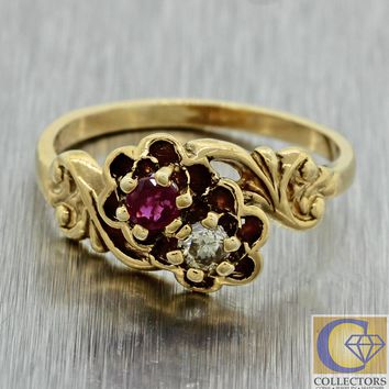 1880s Antique Victorian 14k Yellow Gold Ruby Diamond ByPass Cocktail Ring