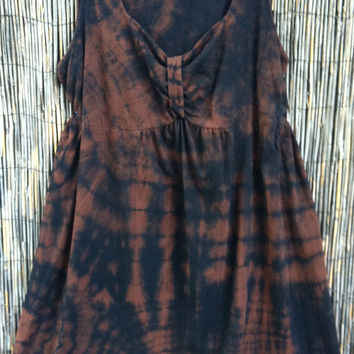 Cotton Blend Tie Dye Black Brown Casual House Dress Babydoll Lounge Women's Plus 3x Black Brown Upcycled